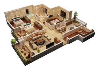 3室2厅2卫  120平米